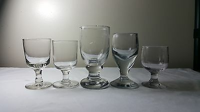 Five Victorian English and continental glass  rummers ale glasses.