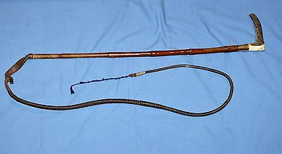 Antique Leather & Antler Riding Crop 15Ct Gold Mounted -  Horse Fox Hunting Whip