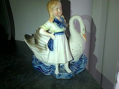 Figure Girl Standing With A Swan  Stunning German / Foreign   Victorian ? Vgc