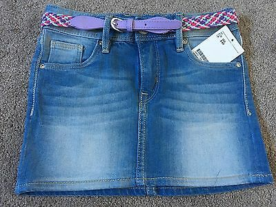 Pretty New H&M Denim Blue Short Skirt With Belt 3-4 Years Old