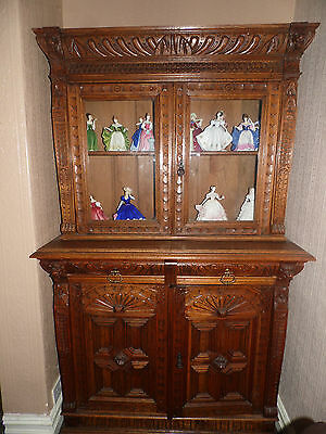 Ancient Heavily Carved Green Man Medium Oak Bookcase Cupboard Display Cabinet