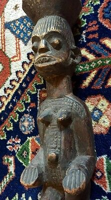Large African Carved Wood Staff Dance Wand Old Figures