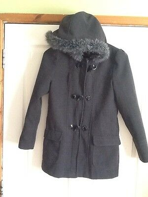 Girls Grey Duffle Style Coat With Faux Fur Trimmed Hood Size 13/14 Yrs By F&f