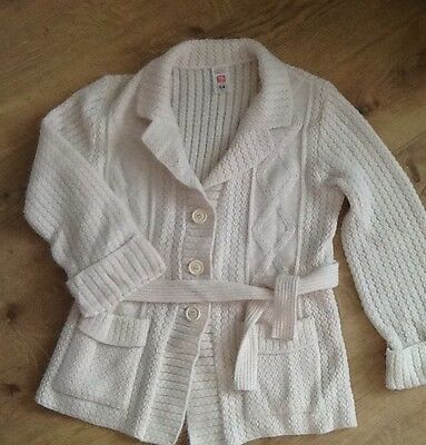 Vintage Ladies St Michael M&s Cable Knit Arran Style  Belted Cardigan Size 16
