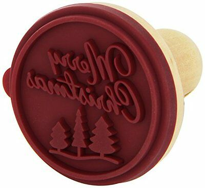 Merry Christmas Cookie Stamp - Wooden Handle with Silicone