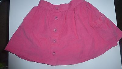 Girls Pink Skater Cord Front Button Side Pocket Elasticated Back 2-3 Years Skirt
