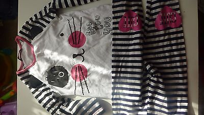 Girls Strip Boo To You Cat Top With Cute Heart Leggings 3-4 Years Vgc