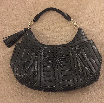 Genuine Anya Hindmarch woven black leather handbag bag like new