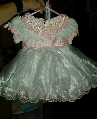 Pink white babydoll pageant dress 6 9 12 18 months