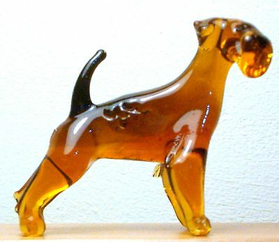 "Hand Blown ""murano"" Glass Collectable Airedale Terrier Dog Figurine"