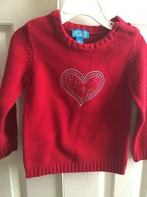 Girls Childrens Place Red Heart Sweater 4T