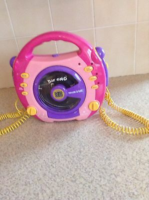 Pink Sing-A-Long Cd Player With Two Microphones Attached