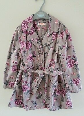 Lovely Girls Debenhams Blue Zoo Floral Mac Coat Size 5 Years *VGC*
