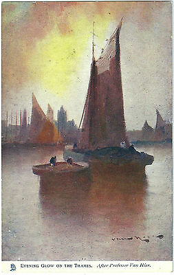Evening Glow On The Thames With Barges By Van Hier. Colour Printed Postcard