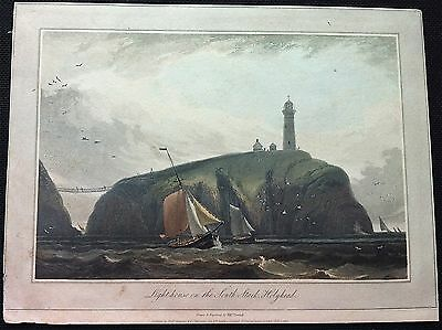 HOLYHEAD SOUTH STACK LIGHTHOUSE 1815 Drawn & Engraved by W. Daniell, aquatint