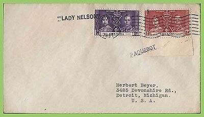 Grenada KGVI Coronation 1d & 1½d on cover, Lady Nelson paquetbot