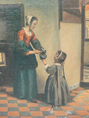 Antique Oil Painting Mother And Daughter Domestic Scene Portrait
