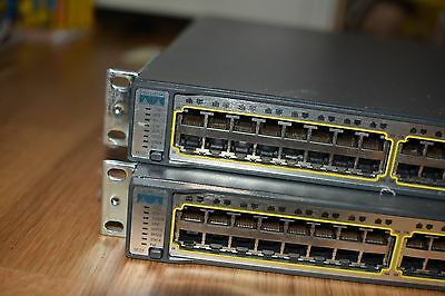 Cisco 2x3750 switches with stack cables and ears