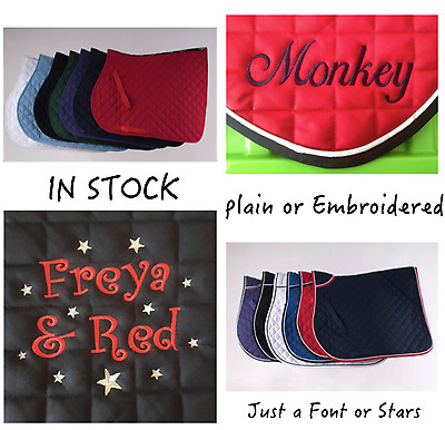 FULL Personalised Saddle Cloth With Stars Sparkle Curly Stars Embroidery Numnah
