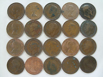 Lot of 20 Great Britain 1 Penny coins Lower Grade