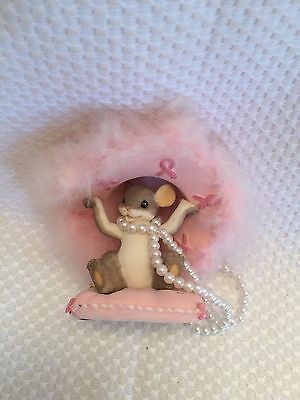 HATS OFF TO A CURE Charming Tails  BREAST CANCER AWARENESS Mouse Figurine