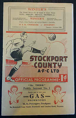 1937 STOCKPORT COUNTY v PORT VALE (Division 3 North match at Stockport 30/1/1937