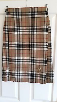 Highland Home Industries, Scotland Womens Tan/black/white Pleated Kilt, Size 12