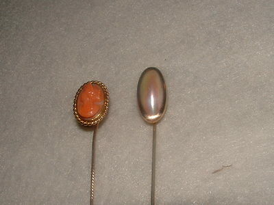 Two Antique Vintage Gold Filled Stick Pins. 1 Coral Carved Cameo, 1 Large Pearl.