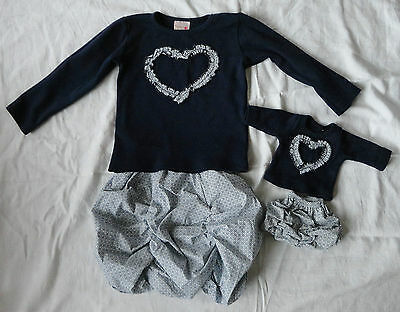 """4EVER PRINCESS Navy Ruffle Heart Top&Skirt,& Doll Outfit,Fit 18"""" Doll,4 Years"""