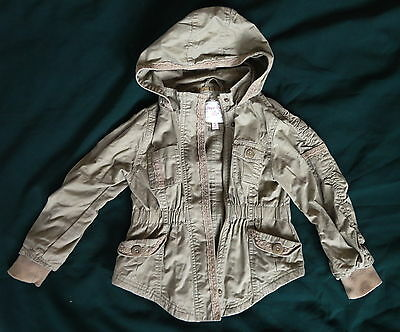 Girls Sugar Pink Khaki Jacket, Hooded, Size 3-4 Years, Lined, Lightweight,