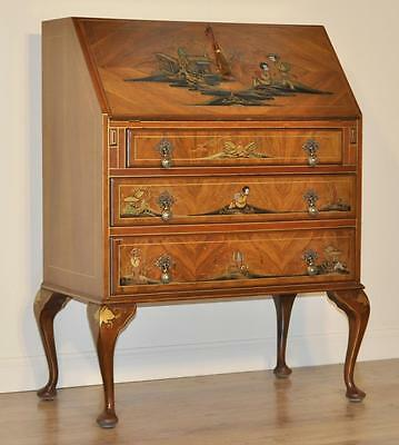 Attractive Good Quality Vintage Walnut Chinoiserie Bureau Office Desk Drawers