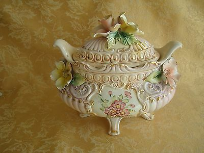 Capodimonte Porcelain Footed Tureen W/ Lid ~ Applied Pink & Yellow Flowers Italy