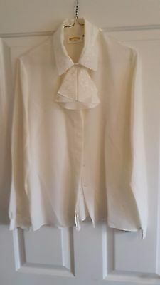 James Pringle Weavers Women's Traditional Highland Dress Blouse In Cream Size 10