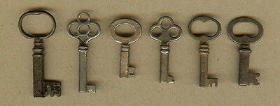 6 Vintage Furniture, Cabinet Skeleton Door Lock, Barrel Keys (B)