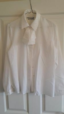 Women's Traditional Highland Dress Blouse By Edinburgh In White, Size 10