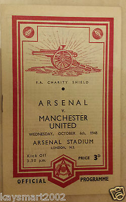 1948 Charity Shield  ARSENAL v MANCHESTER UNITED  at Highbury (RARE)