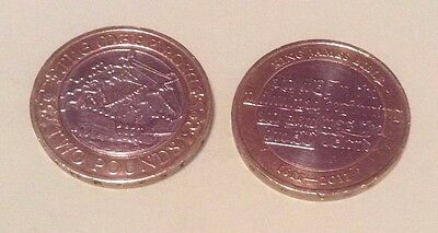 2 X 2 pound coins, Mary Rose and King James Bible.