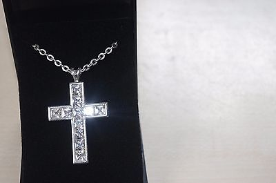 Sterling Silver Large CZ Cross & Chain 17 grams