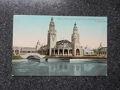 Official 1908 Franco-British Exhibition postcard -Palace of Women's work -London