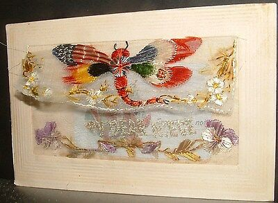 SCARCE EMBROIDED SILK POSTCARD WW1, DRAGONFLY with FLAG WINGS, to DEAR NIECE