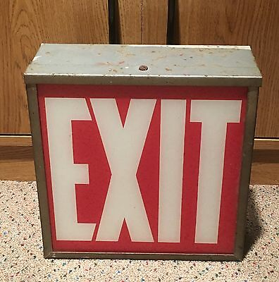 Vintage Metal Enclosed Industrial Glass Exit Sign