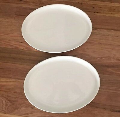 2 X White Ceramic Platters. Made Italy.