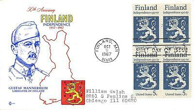 1334 5c Finland Independence, First Day Cover Cachet block of 4. [E104568]