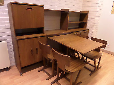 Mid Century Elm Ensign Modular Unit - Room Divider With Table & Chairs - Vgc