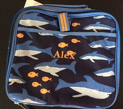 Pottery Barn Kids Teen Game Tote Fish And Sharks Monogrammed ALEX PBT NWOT