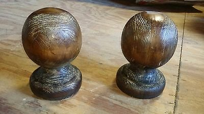 """Set of 2 WOODEN BOOKENDS NEWEL POST BALL FINIAL TOP - 7X4.5"""" NEW"""