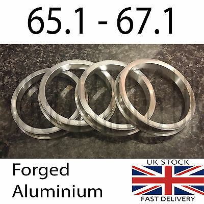 4 Metal Spacer Spigot Rings 67.1 to 65.1 Alloy Wheel HubCentric Saab Vauxhall