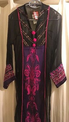 Chinyere bareeze over dress Diagonal black asian small approx size 6/8