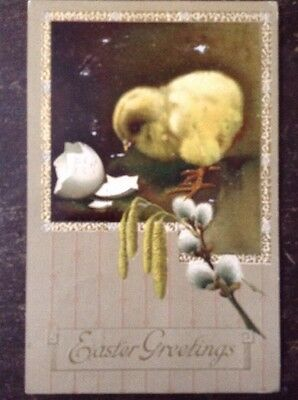 """""""Easter Greetings"""" Broken Egg, Little Chick, Pussywillow? 1914"""