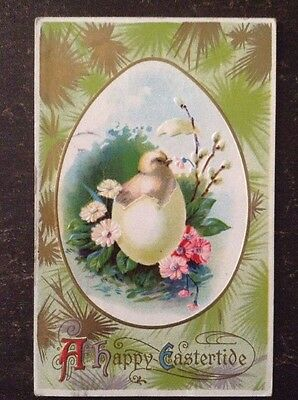 """""""A Happy Eastertide"""" Chick Coming Out Of Egg, Surrounded By Flowers 1914"""